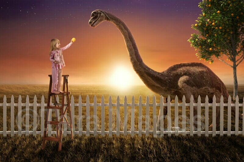 Smiling Dinosaur in Backyard Funny Dinosaur by Fence in Backyard Feeding Digital Background Backdrop
