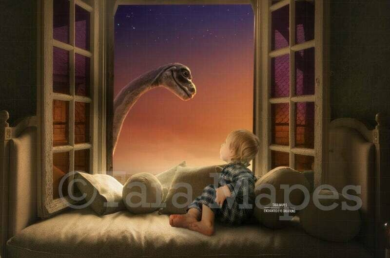 Dinosaur in Window Sunny Creamy Magical Digital Background Backdrop