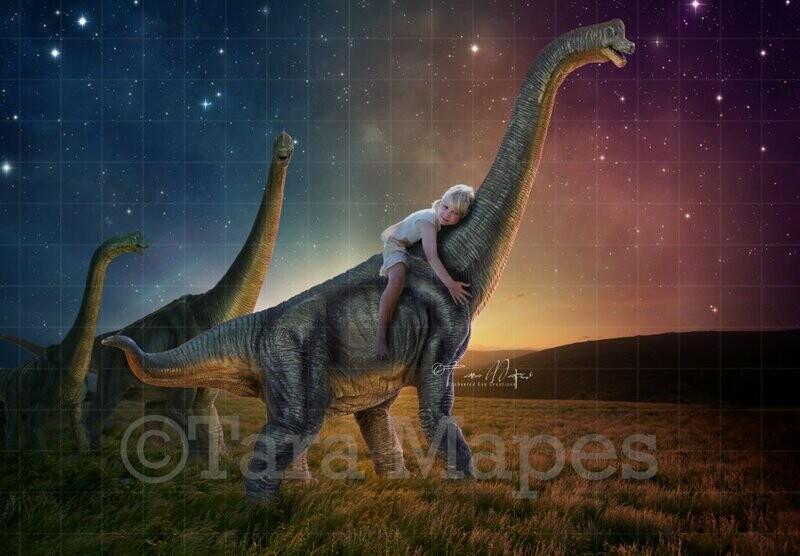 Dinosaurs in Field Digital Background / Backdrop