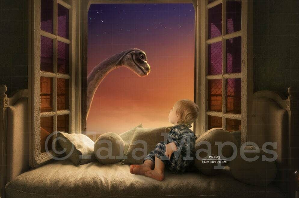 Dinosaur in Window Sunny Creamy Magical Digital Background Backdrop