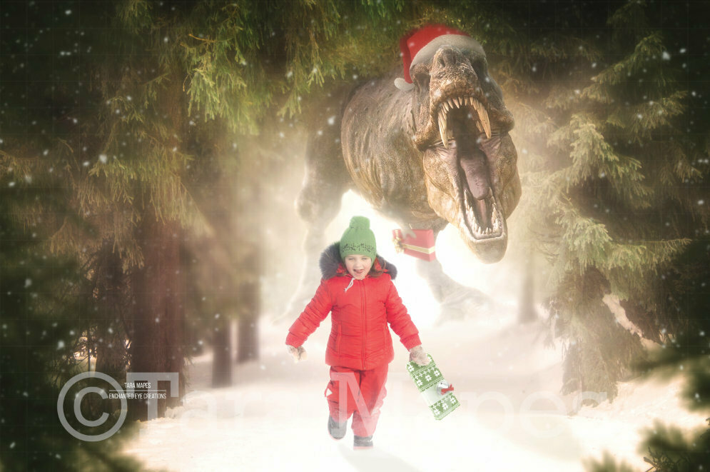 Christmas Dinosaur - T-Rex Tyrannosaurus Rex with Christmas Present - Chase Holiday Funny Digital Background Backdrop