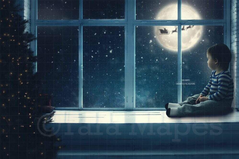 Christmas Window Seat - Studio Window - City - Santa in Moon Digital Background Backdrop