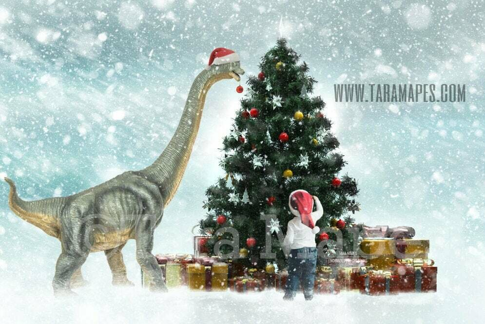 Christmas Dinosaur Decorating Christmas Tree- Dino Decorating Tree - Holiday Funny Christmas Card Idea - Digital Background Backdrop