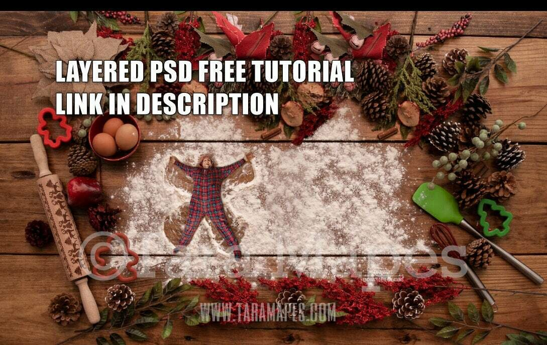Flour Angels Christmas Digital Background for Kids on Cutting Board LAYERED PSD  - Christmas Card - Flour Angels - Christmas Cookie  - Christmas Digital Background