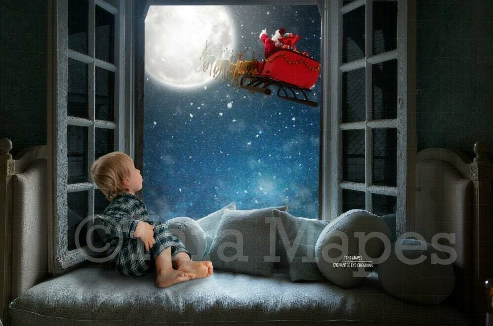 Christmas Window with Santa in Sleigh by Moon Digital Background Backdrop