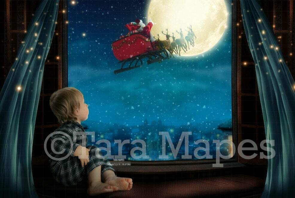 Christmas Window Overlooking City with Santa Sleigh Moon - Christmas Village - Magic Window with Santa in Moon Digital Background Backdrop