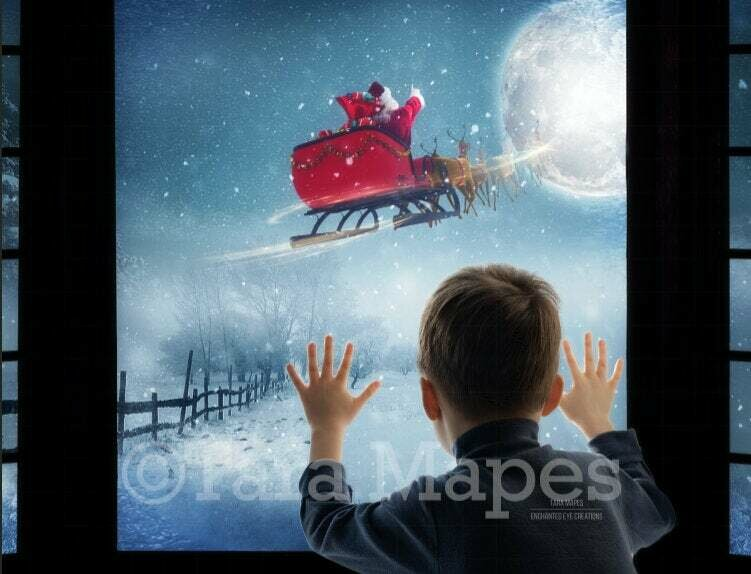 Christmas Window Santa Sleigh and Reindeer Flying at Night with Magic and Moon Digital Background Backdrop