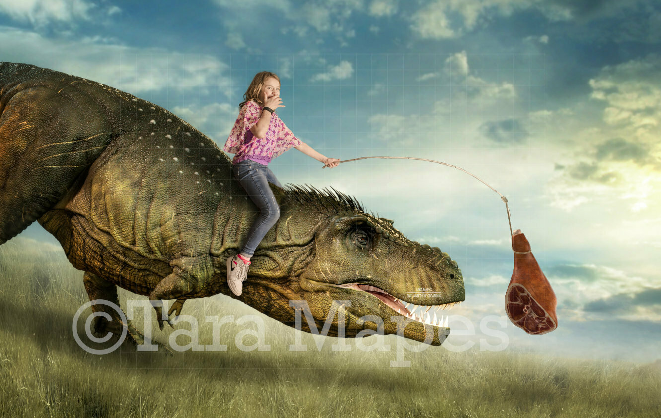 T Rex Dinosaur Chasing Meat on Stick - Ham PNG included - Funny Dinosaur Digital Background Backdrop