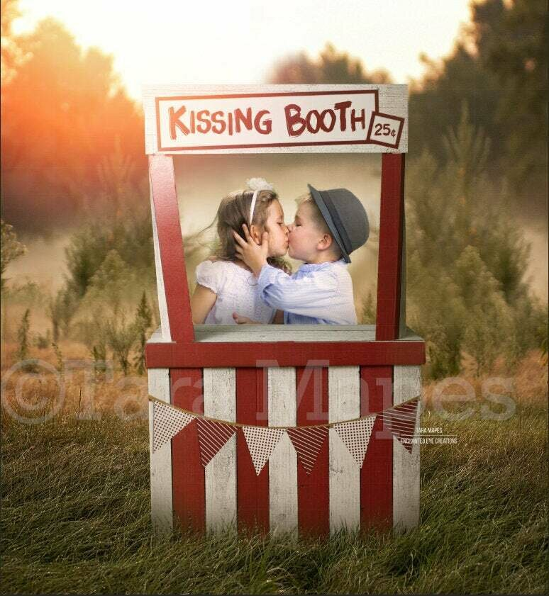 Kissing Booth - Valentine Background - Valentines Day - Kiss - Digital Background / Backdrop