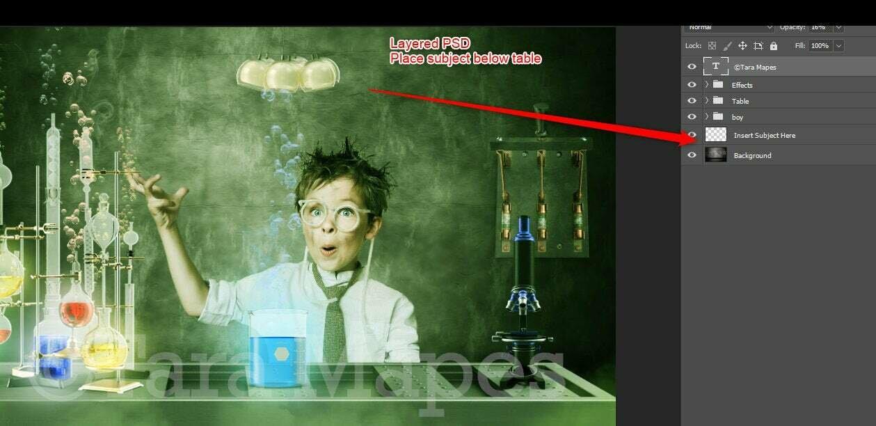 Mad Scientist - Science Lab - LAYERED PSD - Chemistry Lab Digital Background
