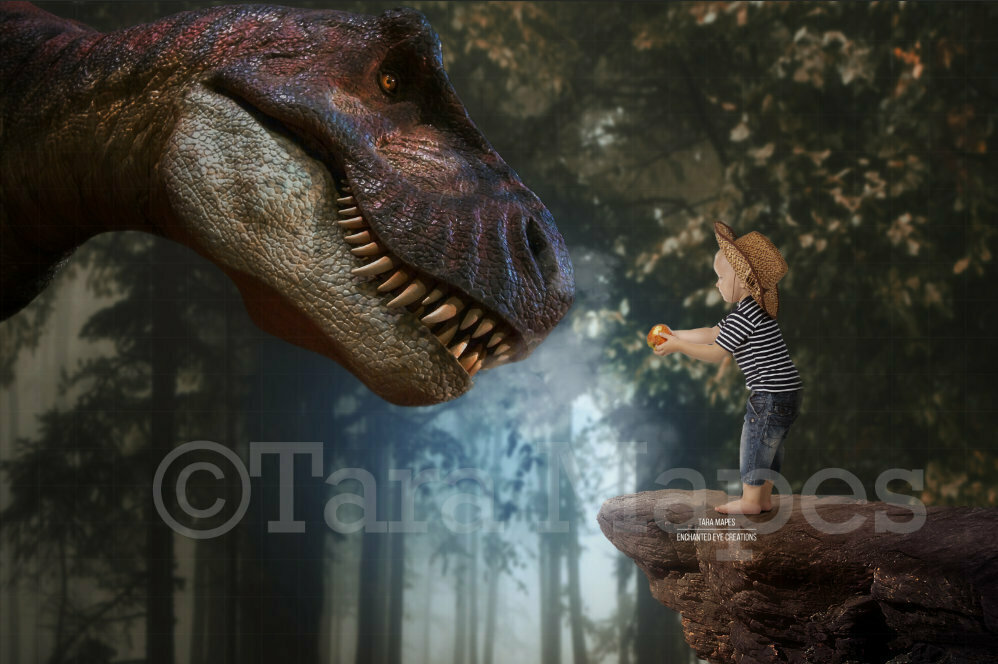 Dinosaur Feed - T Rex in Forest by Cliff - Close Up -  Dino Digital Background / Backdrop