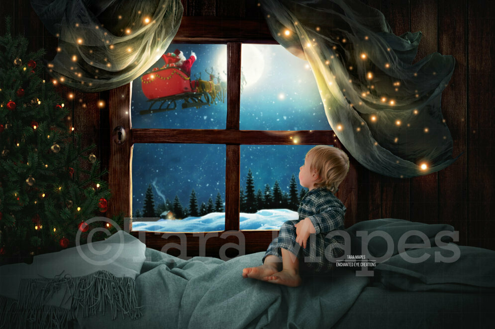 Christmas Window Magic with Tree and Santa in Sleigh by Moon Digital Background Backdrop