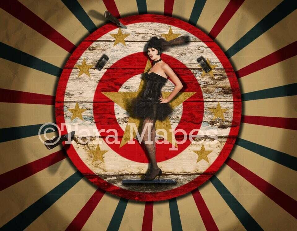 Vintage Circus Knife Throwing Wheel Target Backdrop Digital Background Backdrop
