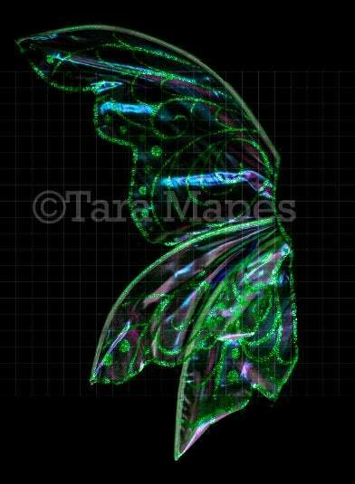 Iridescent Green Fairy Wing Overlay - Rainbow Glittery Fairy Wing Overlay - Fairy Digital Wings - Sparkles Fairy Wing