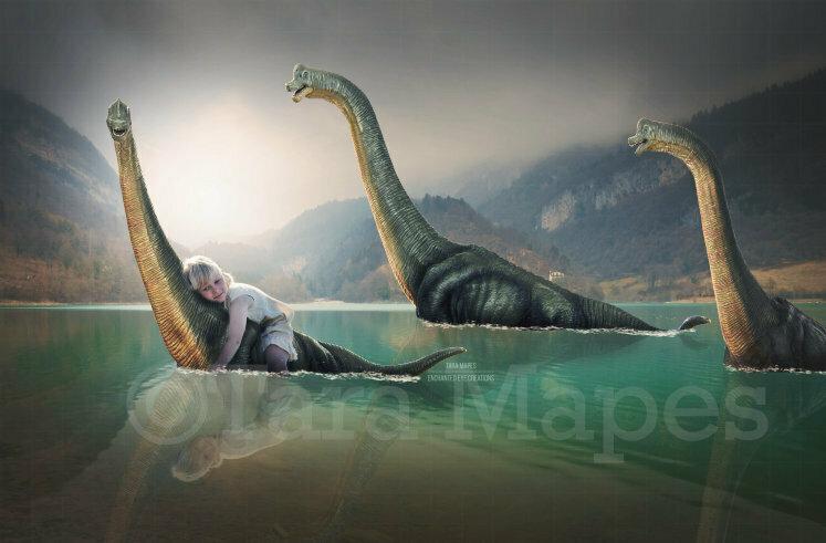 Dinosaurs in Prehistoric Lake Digital Background / Backdrop