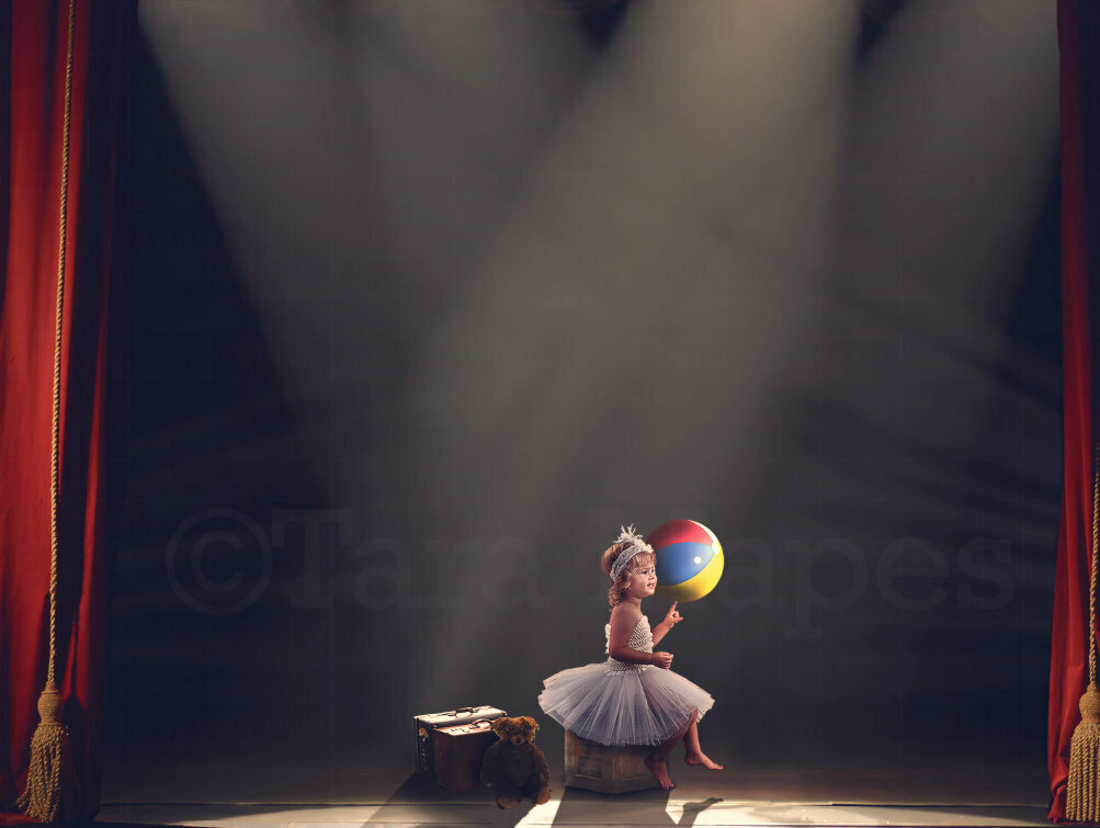 Circus Stage with Lights and Red Curtains Digital Background Backdrop