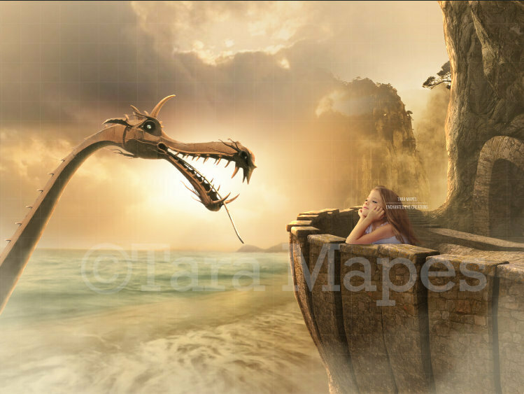 Castle Balcony with Dragon Ocean Sea Digital Background / Backdrop