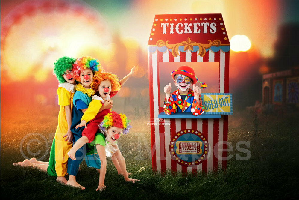 Circus Ticket Booth - Fairgrounds - Festival - Ticket Booth - Digital Background Backdrop