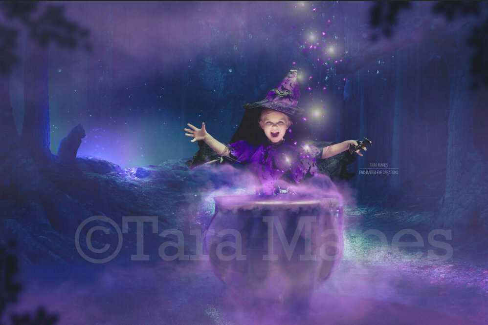 Witch Casting Spell with Cauldron in Woods Digital Background / Backdrop