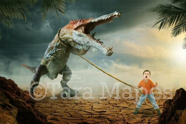 Dinosaur on a Leash Includes PNG of Leash Digital Background / Backdrop