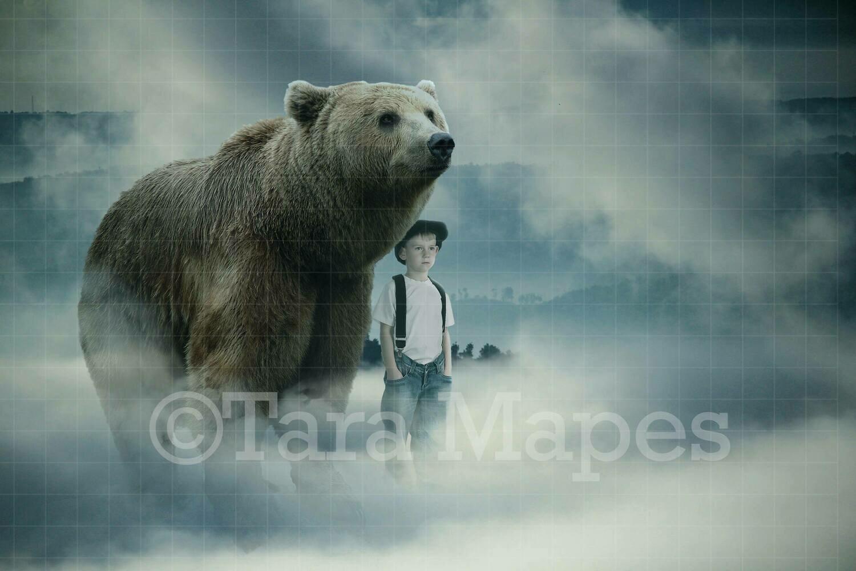 Bear on Hill Digital Background