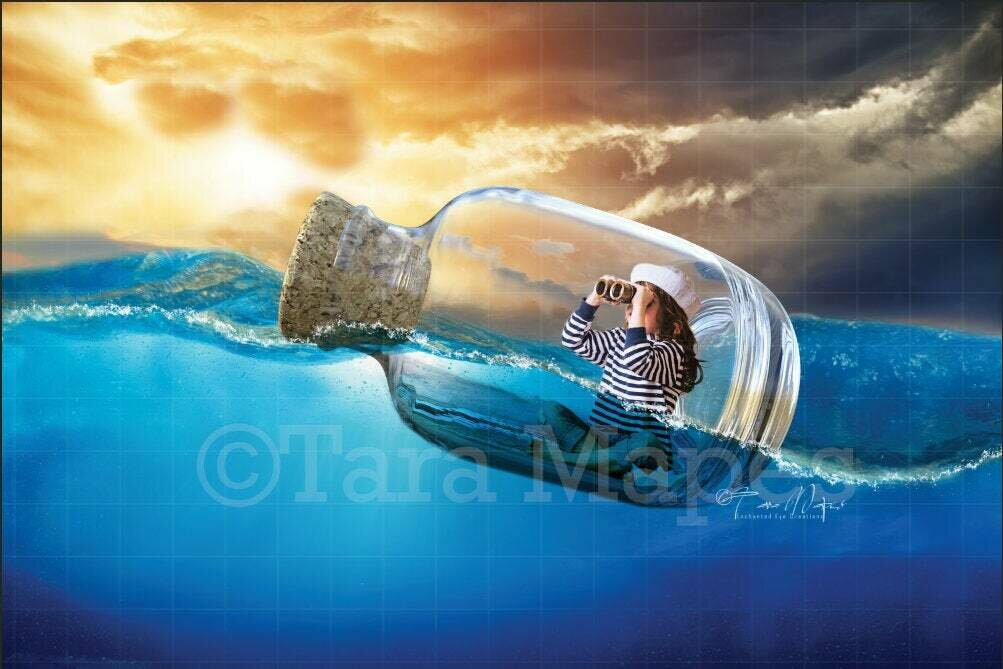 Message in a Bottle Sailor Digital Background / Backdrop