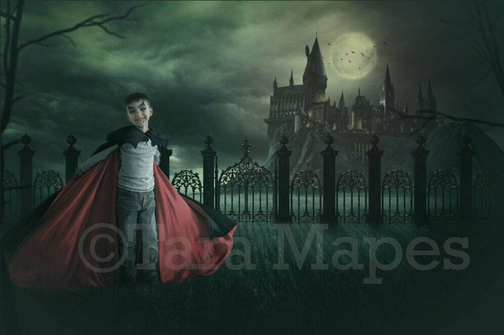 Dracula's Castle Vampire Halloween Digital Background Backdrop