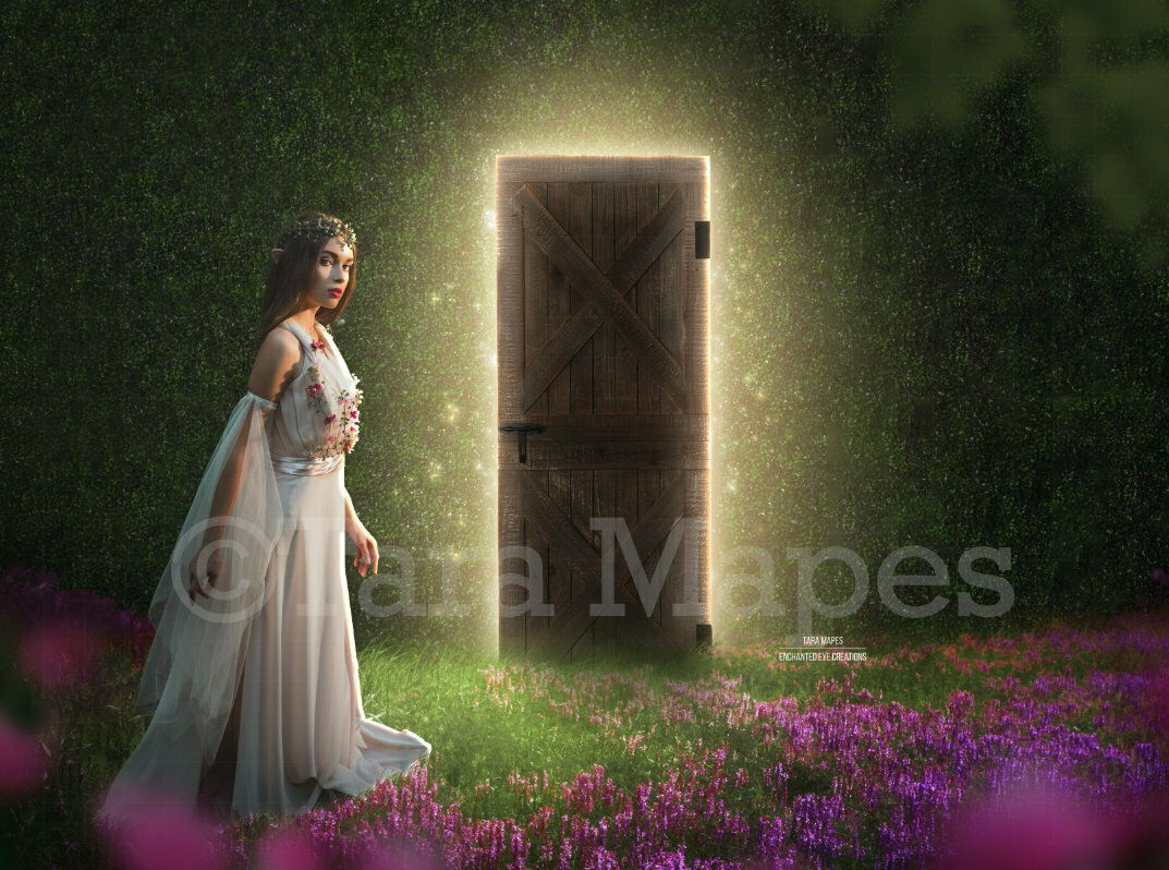 Enchanted Forest Door - Secret Door - Magical Door  Digital Background Backdrop