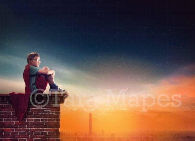 Superhero on Roof Building over City at Sunset Digital Background Backdrop