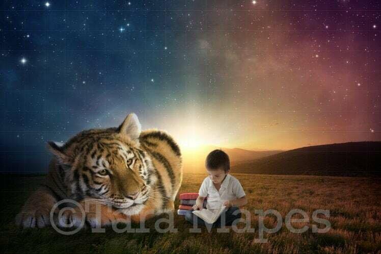 Baby Tiger in Field Digital Background / Backdrop