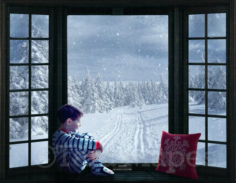 Christmas Window Seat with Winter Path Digital Background Backdrop