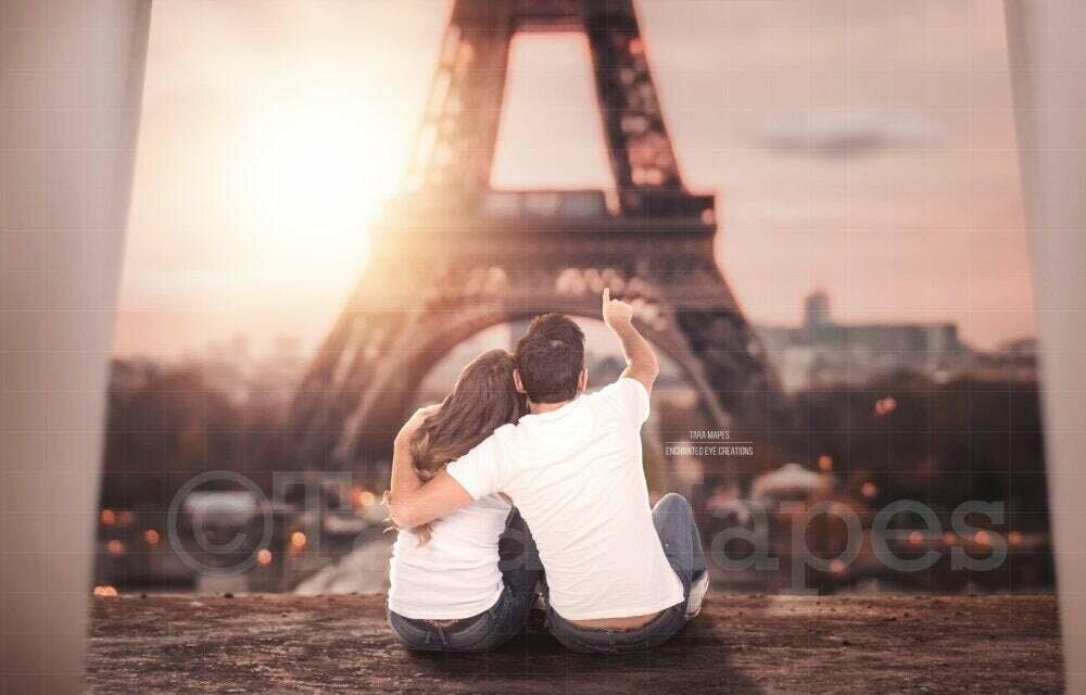 Eiffel Tower Paris Wedding Love Couples Digital Background / Backdrop