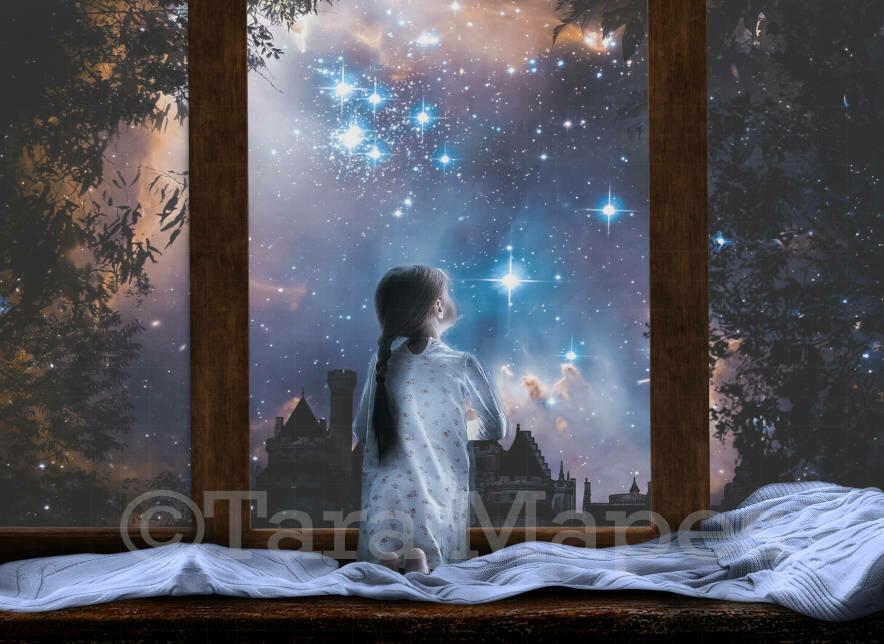 Starry Window at Night Magic Digital Background Backdrop
