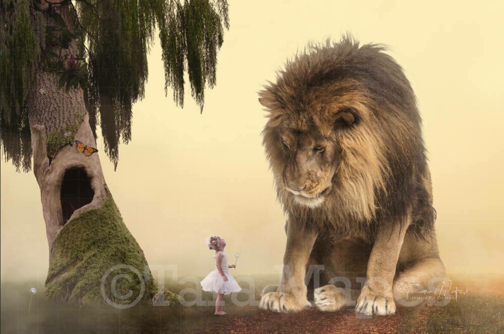Big Lion on Foggy Path Digital Background / Backdrop