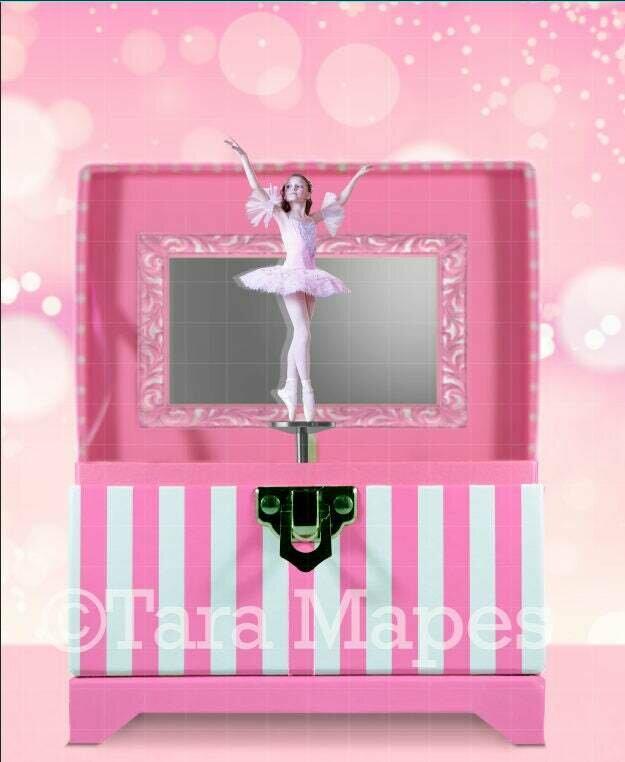 Pink Striped Music Box Ballerina Digital Background