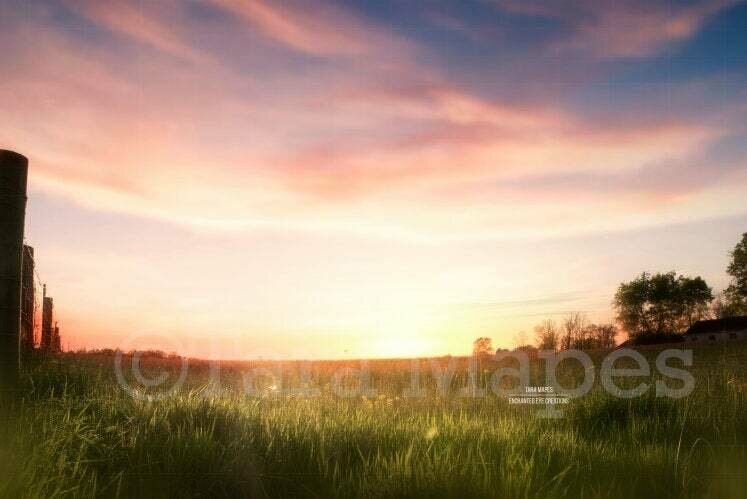 Sunset Field by Fence Creamy Nature Background Backdrop