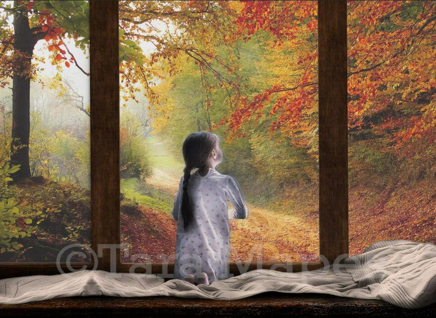 Fall Autumn Window Digital Background Backdrop