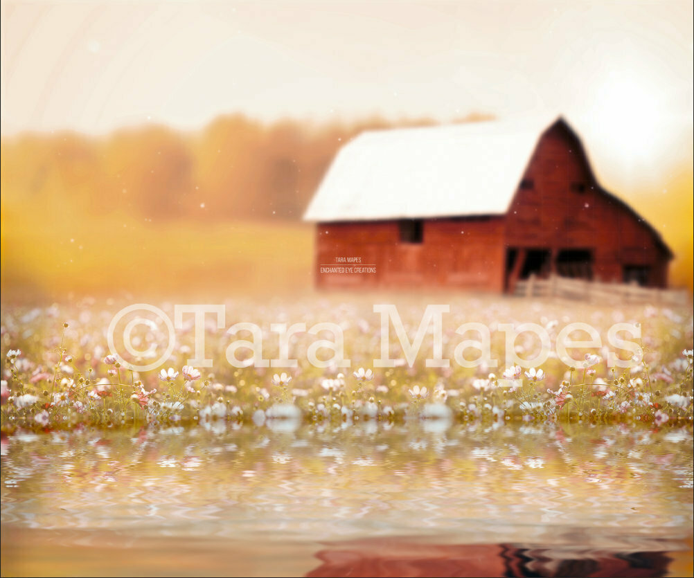 Red Barn By Lake in Field - Spring Lake in Field -  Creamy Country Background- Digital Background Backdrop