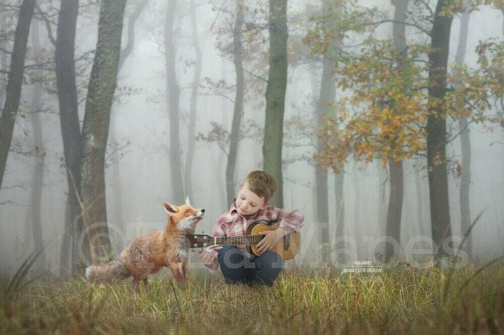 Fox in Foggy Forest Spring Autumn Creamy Digital Background Backdrop