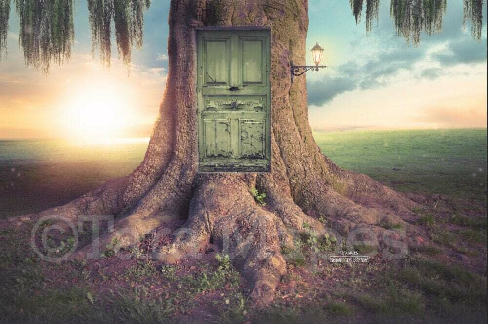Fairy Tree with Door - Creamy Nature - Digital Background / Backdrop