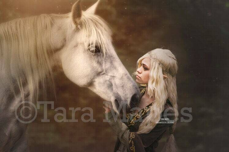Horse on Creamy Background | Horse Kiss | Kissing a Horse in Forest Magical Digital Background