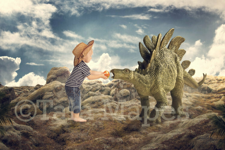Stegosaurus Feeding Funny Dinosaur on Cliff Digital Background Backdrop