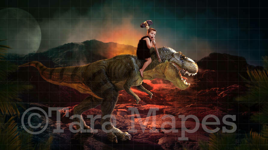 Dinosaur T-Rex by a Volcano Digital Background