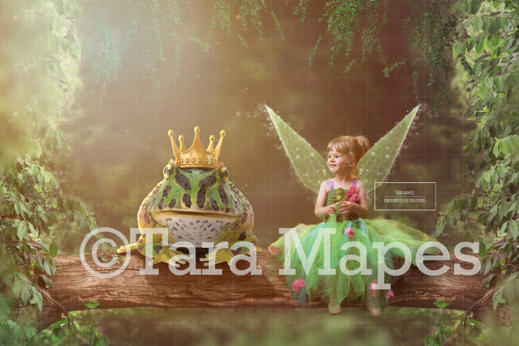Fairy Log in Magic Forest Digital Background Backdrop