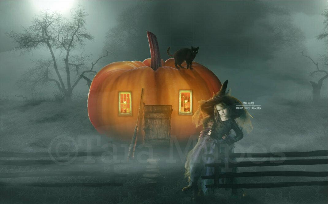 Halloween Pumpkin House - Little Witch - Spooky Fun Halloween Digital Background Backdrop