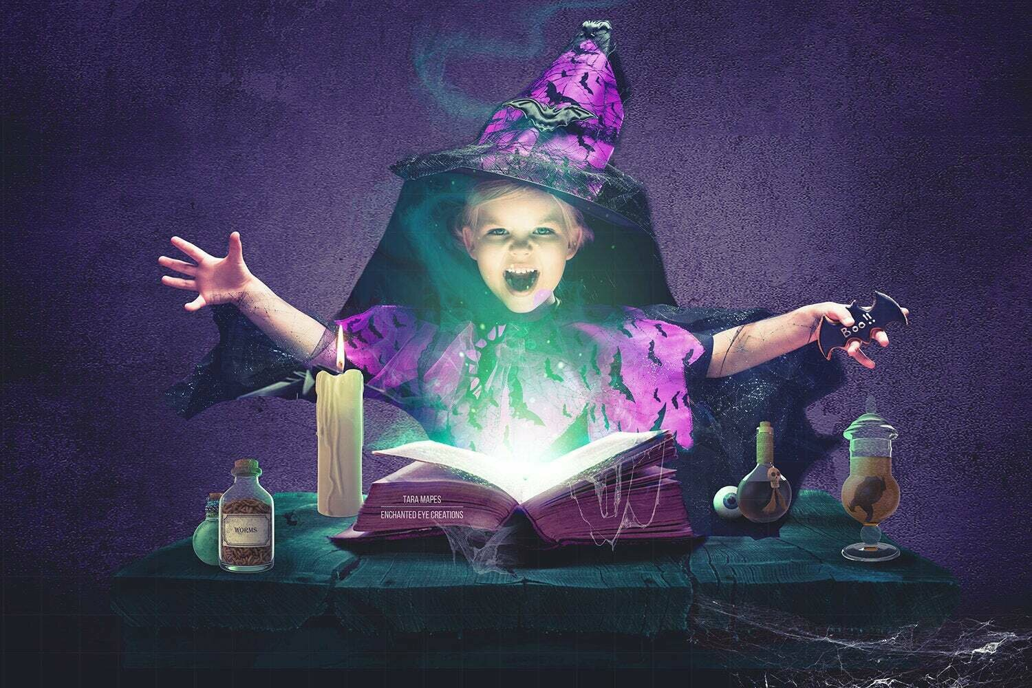 Witch Spell Book Digital Background - Halloween Spell Book - Hocus Pocus Spells - Layered PSD Digital Background / Backdrop