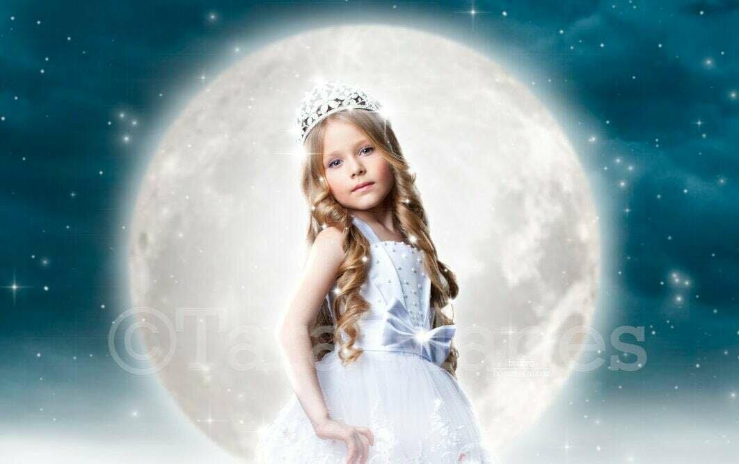 Halloween Moon  - Princess Moon - Moon and Stars Halloween Digital Background Backdrop