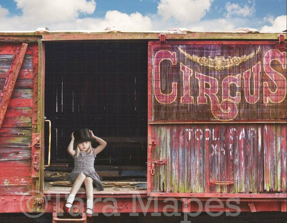 Circus Train Day Digital Background / Backdrop