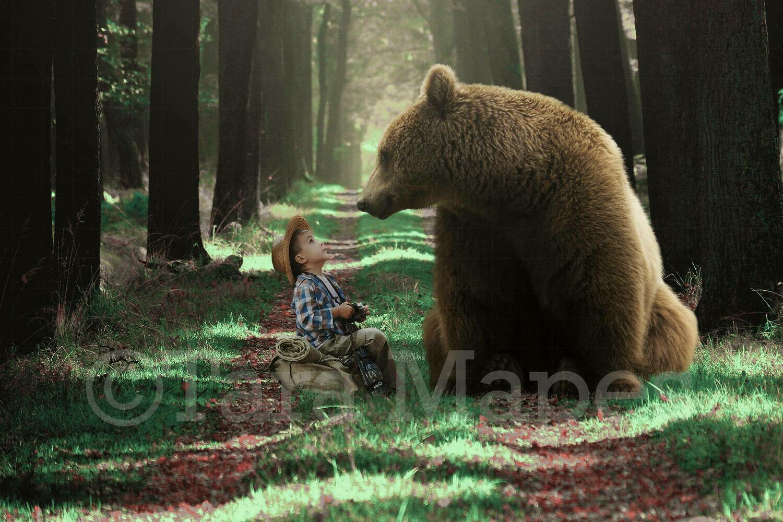 Bear in Forest Digital Background