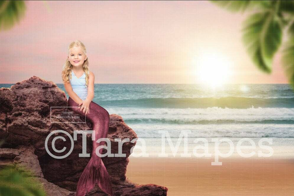 Mermaid Rock on Beach Digital Background / Backdrop